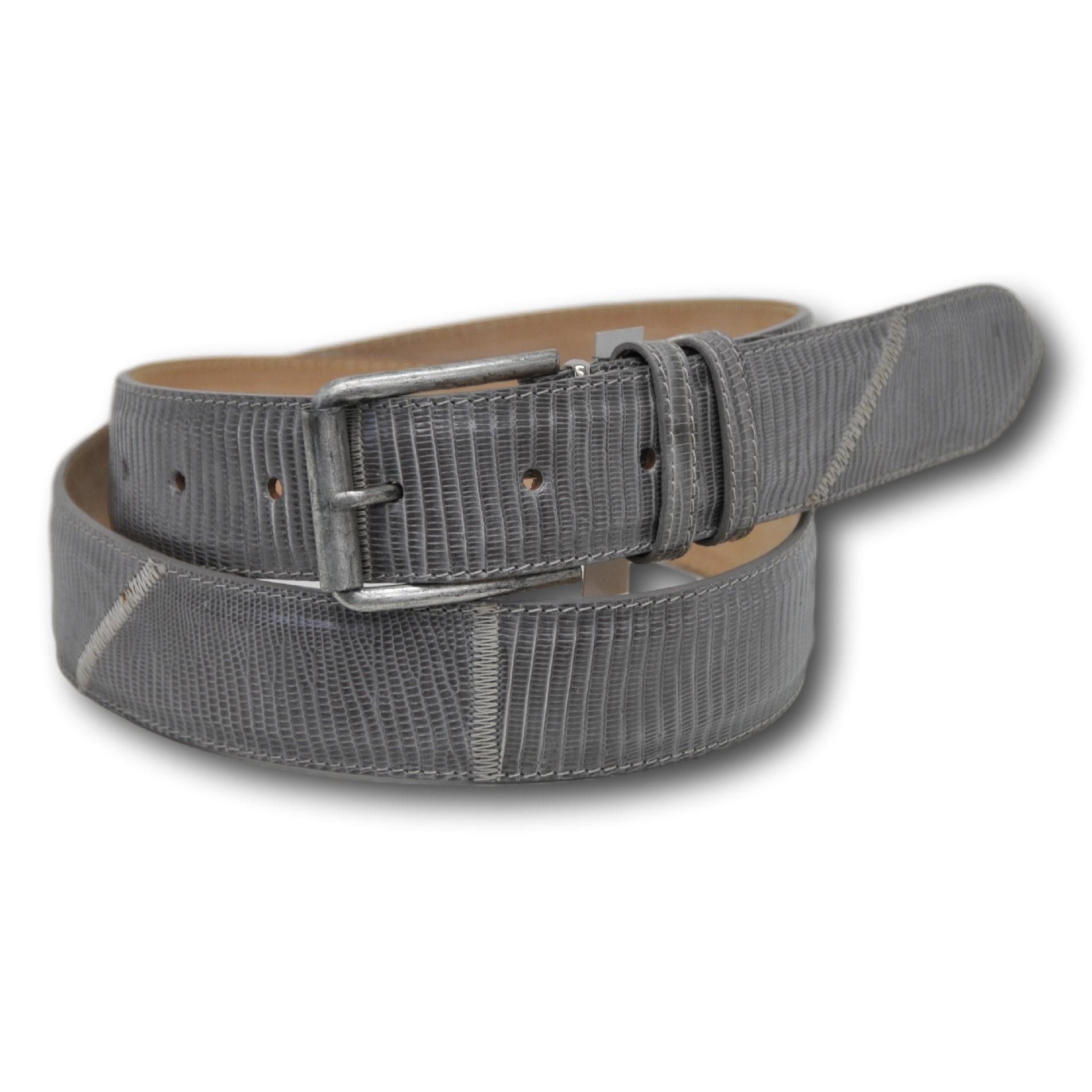 Cintura in vera pelle di tejus colore grigio