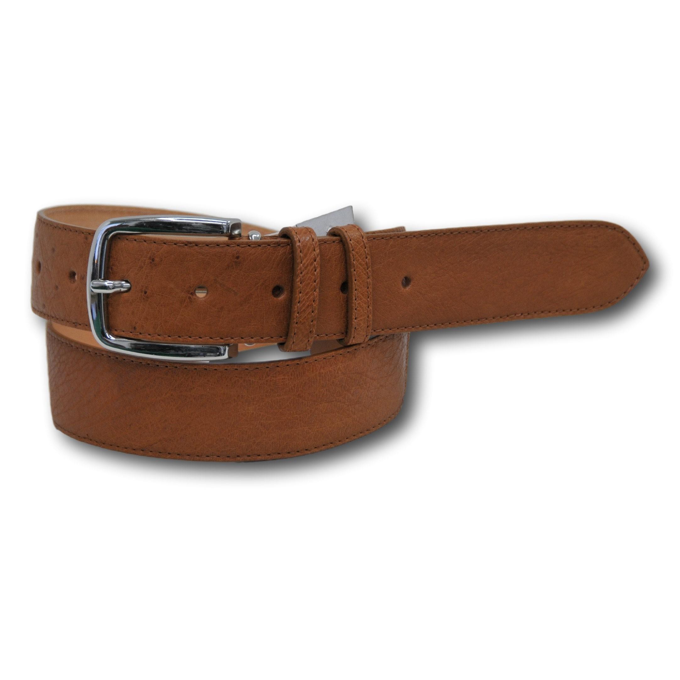 Cintura in vera pelle di struzzo colore cuoio