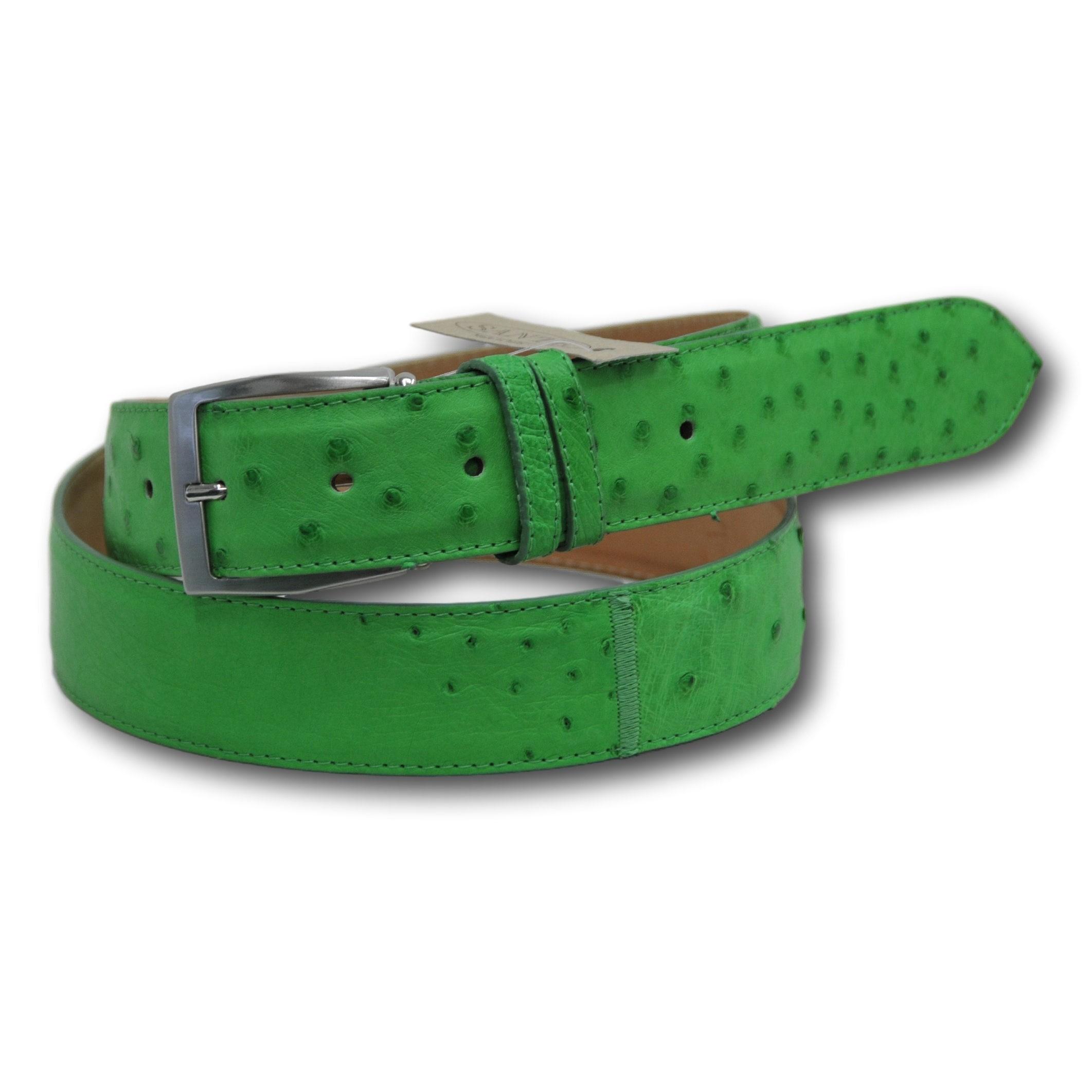 Cintura in vera pelle di struzzo colore verde fluo