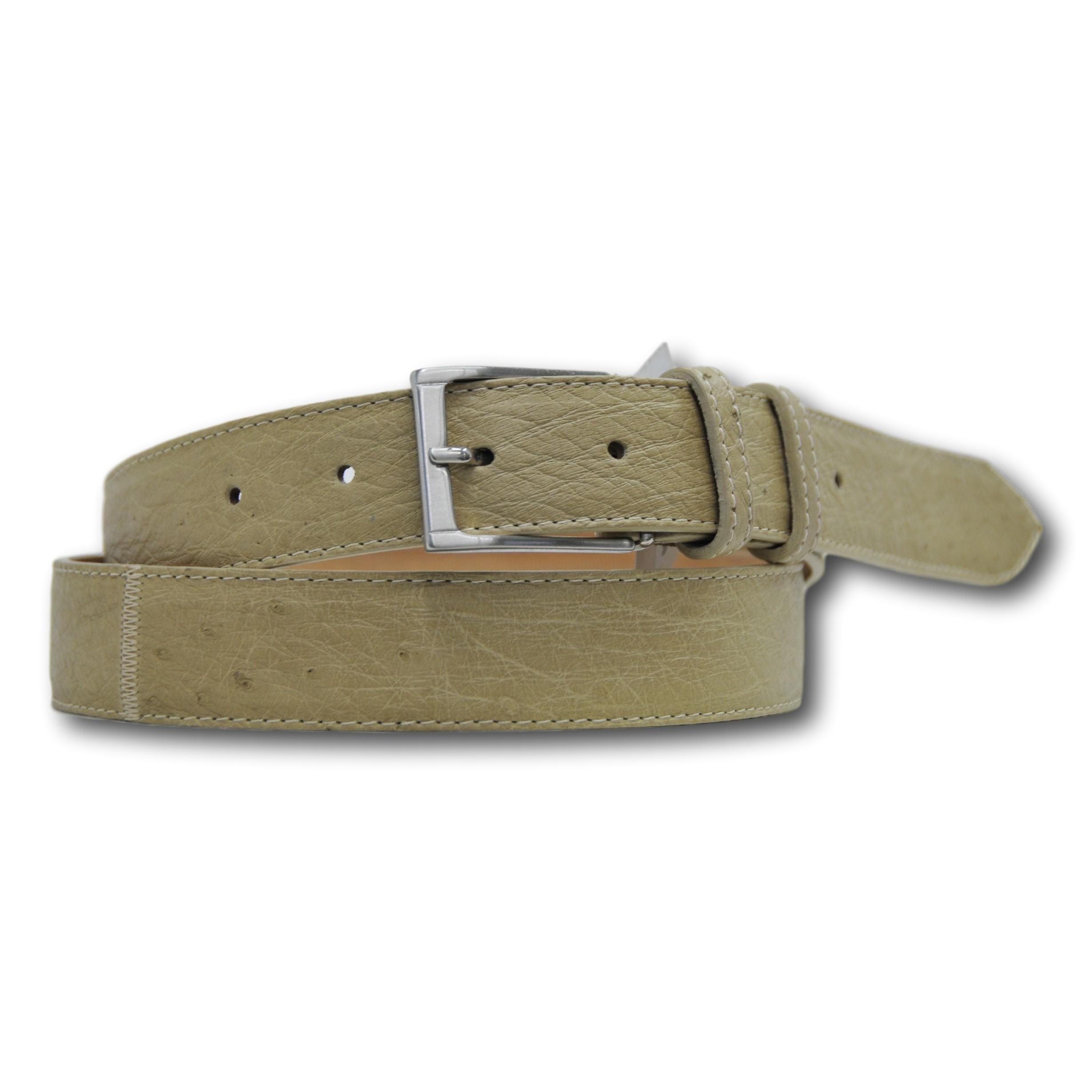 Cintura in vera pelle di struzzo unisex