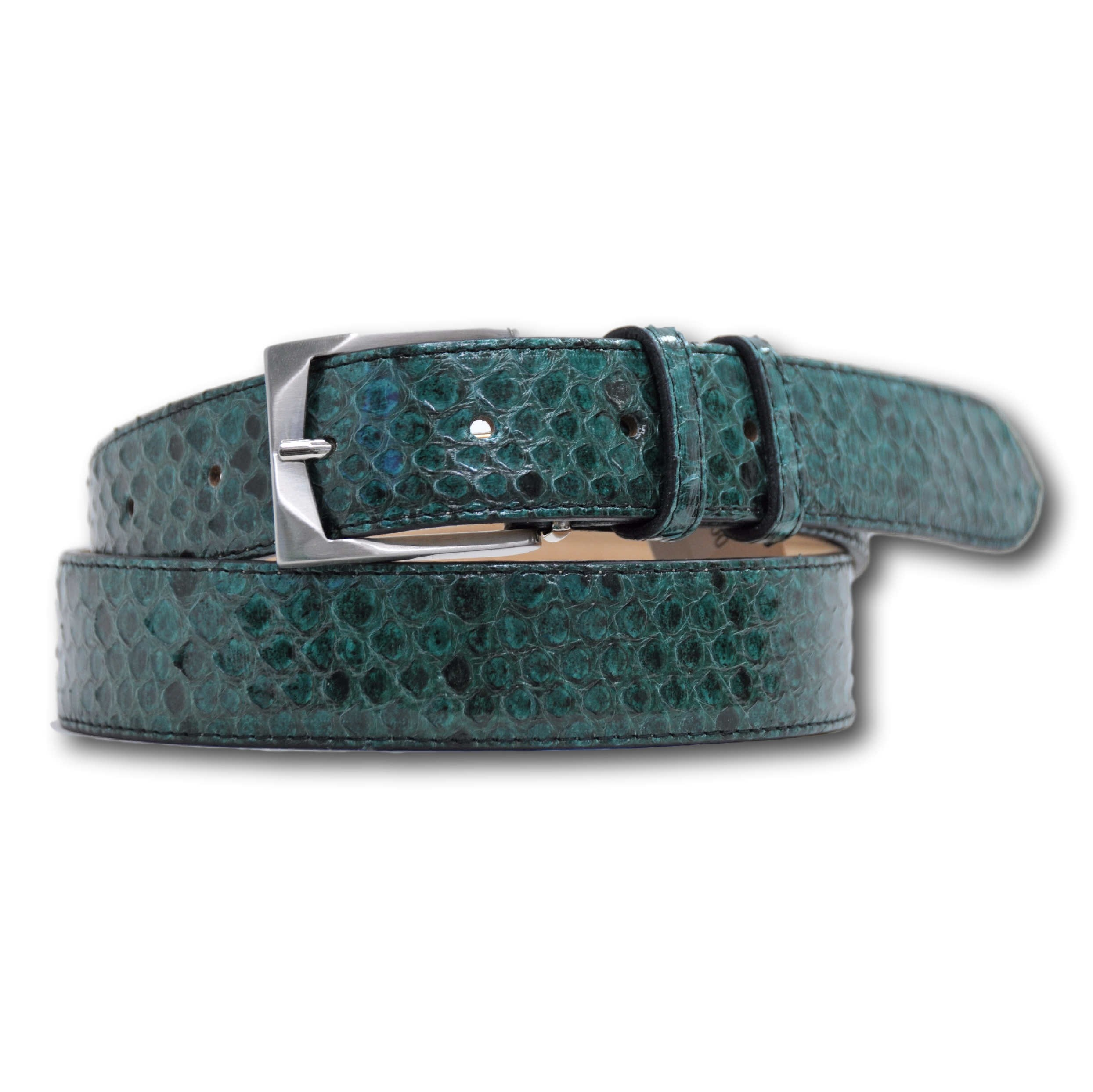 Cintura in vero pitone colore verde Unisex